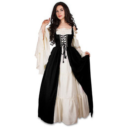 Gothic Woman Costumes UK - European Style Gothic Lolita Medieval Dress Renaissance Carnival Women Costumes Long Dress Victorian Lace Up Retro Vintage Women Vestidos