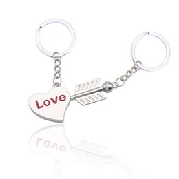 New Silver Plated Lovers Gift Couple Heart I LOVE YOU Cupid Keychains  Fashion Keyring The Key To The Heart Key Chain 2adb171e9e9a