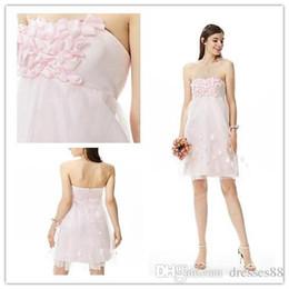 $enCountryForm.capitalKeyWord Australia - A-Line Strapless Short Bridesmaid Dresses With HandFlower Pink 2019 Country Bridesmaid Gowns For Wedding Sukienka Wesele 100% Real Photo