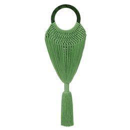 Braid Yellow UK - Acrylic Handle Women Tassel Body Handbags Handmade Weave Mesh Net Basket Female Ring Handle Tote Braided Summer Beach Bag