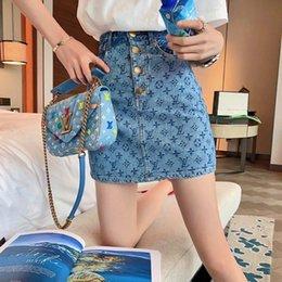 Venta al por mayor de [Versión Calidad] 2020 verano nuevo estilo versátil falda de los pantalones vaqueros clásicos jacquard Presbyterian falda tendencia femenina