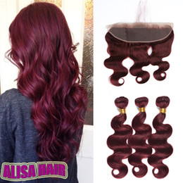 red remy weave 2019 - Burgundy Human Hair Weave Bundles 8A Wine Red 99J Indian Virgin Hair Body Wave 3Pcs Lot With 13x4 Frontal Mink Remy Huma