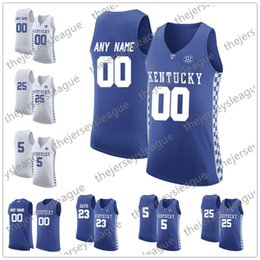 852c230a2 Kentucky Wildcats Custom Any Name Any Number White Royal Blue Stitched NCAA  College Basketball Jersey #14 Tyler Herro 23 Anthony Davis
