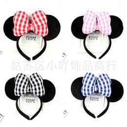 Headbands Bow Australia - Hair Sticks Fashion Bow Headband Plaid Headband Birthday Show Party Amusement Park Girl Cotton Headband