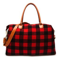 designers travel bags wholesale 2021 - Small lot 1pcs Plaid Travel Bag Buffalo Large Capacity Duffle designer luxury Handbag Overnight Weekend Tote Bag With PU Handle DOM1061065