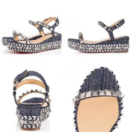 Studs Sandals Australia - Pyraclou 60mm Platfrom Flats Espadrilles Woven Lady Wedges Sandals Ankle Strap Studs Red Bottom Sexy Lady Women Dress Party Weddin