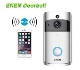 Toptan satış 2019-EKEN Akıllı Home Video Kapı zili 720P HD Wifi Bağlantı Gerçek zamanlı Video Kamera Çift Yönlü Ses Lens Geniş Açı Gece Görüş PIR Hareket için