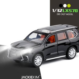lexus alloys NZ - 1:32 LEXUS LX570 Music Light Alloy Metal Diecast Car Toy Gold White Black Door Openable Pull Back Model Car Toys For Kids Gifts T200110