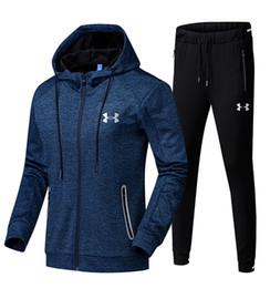 Boys winter coat pants online shopping - Brand U A Men Tracksuit Under Zipper Hoodie Jacket Pants Set Hooded Coat Outwear Trousers Outfit Armor Autumn Sportswear Suit Color