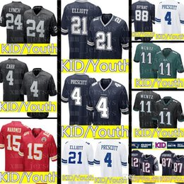 KID Dallas Cowboys 21 Ezekiel Elliott 4 Dak Prescott Jersey Youth KID  Philadelphia Eagles 11 Carson Wentz Raiders 24 Marshawn Lynch f4058748b