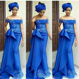 $enCountryForm.capitalKeyWord NZ - Royal Blue Mermaid Evening Dresses Elegant Off The Shoulder Lace Appliques Satin Prom Dress Long Cheap African Formal Dresses Party Gowns