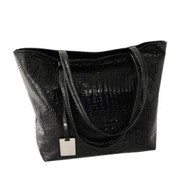 Zipper Bags Australia - Women Soft Artificial PU Tote Crocodile Casual Alligator Large Capacity Bucket Zipper Shopping Glossy Shoulder Bag