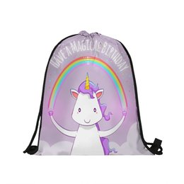 $enCountryForm.capitalKeyWord Australia - Pink Unicorn Softback Backpack Boy Girl 3D Oxford Fabric Drawstring Bag Kids Favors Gifts for Birthday Party Decoration