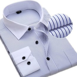 large collar white shirt NZ - Men's Classic Shirt Large Size S-7XL 8XL Men Work Shirts Striped   Twill Men's Shirt with Long Sleeves Casual Smen's White