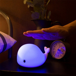 Discount night sensor light for kids - Cartoon Dolphin Night Light LED USB Charge Silicone Luminaria Touch Sensor Baby Nursery Nightlight Table Lamp For Childr