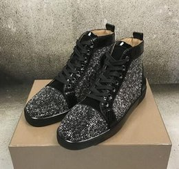 perfect flooring Australia - Luxury Designer Rhinestone Leisure Flats Popular Perfect High Top Red Bottom Sneakers Shoes For Women,Men Casual Walking Party Wedding