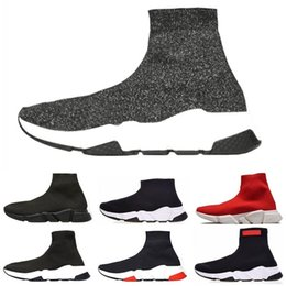 Flat pointed black shoes For men online shopping - 2019 New Fashion For Women Men Speed Trainer Red Triple Black Flat Casual shoes Sock Boots Mens Shoes