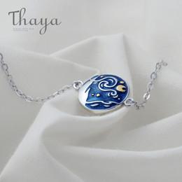 Cloisonne Plates Australia - Thaya Van Gogh Enamel Cloisonne Plated Bracelet Star Moon Night Oil Painting S925 Silver Bracelet Jewelry For Women Gift Y19051803
