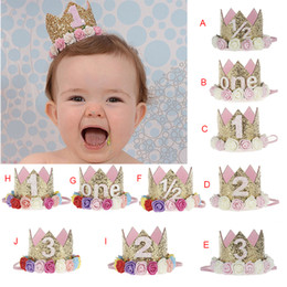$enCountryForm.capitalKeyWord Australia - Baby Girl First Birthday Decor Flower Party Cap Crown Headband 1 2 3 Year Number Priness Style Birthday Hat Baby Hair Accessory