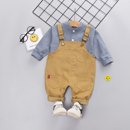 Discount boys suspenders plaid - Autumn Baby Boy Clothes Cute Plaid Print Long Sleeve Shirt Blouse Suspenders Trousers Casual Kids Clothes Spring 2pcs Fa