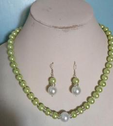 $enCountryForm.capitalKeyWord Australia - jewelry 8MM White Green South Sea Shell Pearl necklace earrings set Grade