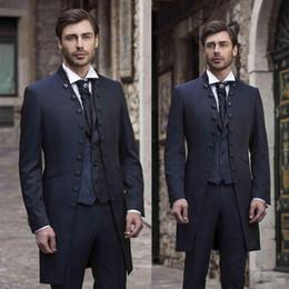Discount men wedding two piece coat suit - Long Coat Groom Tuxedos Navy Blue Groomaman Men's Wedding Tuxedos Fashion Men Prom Dinner Clothing 3 Piece Suits (J