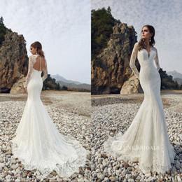 Chinese  Moest Lace Long Sleeve Mermaid Wedding Dresses 2019 Summer Beach Garden Bohemian Bridal Gowns Hollow Back Boho Robe de mariee manufacturers
