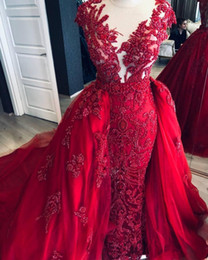 luxurious one shoulder dress Australia - 2020 Arabic Burgundy Luxurious Evening Dresses Lace Beaded Mermaid Prom Dresses Detachable Train Tulle Formal Wears