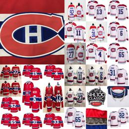 Canadiens de Montréal 13 chandails de hockey Max Domi 31 Carey Price 6 Shea Weber 92 Jonathan Drouin 11 Brendan Gallagher Cousu Glace Rouge et Blanche