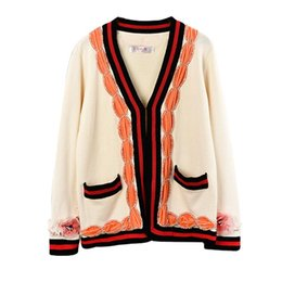 $enCountryForm.capitalKeyWord UK - 2018 Autumn Winter New Pull Femme Beaded Diamond Color Matching Ribbon Cardigan Sweater Beige White Sweaters High Quality Luxury Coat