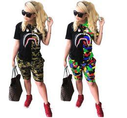 $enCountryForm.capitalKeyWord Australia - shark Camo 2 piece set Women Designer Plus Size Tracksuit Camouflage T-shirt Shorts Sportswear Panelled Tee Top Pant Summer Clothes S-3XL