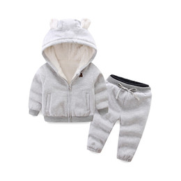 Girl Children Models NZ - good quality girls clothes winter models for boys and girls children thickened Arctic fleece bear suit cotton sweater thicker coat