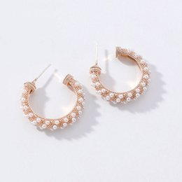 gold earrings simple girls 2019 - MOONROCY Imitation Pearl Earrings Rose Gold Color Round for Women Girls Gift Dropshipping Simple Party Jewelry Wholesale
