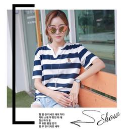 $enCountryForm.capitalKeyWord Australia - Summer wear - Korean v-neck striped short-sleeved T-shirt with loose half sleeves for women - new summer 2019 dress