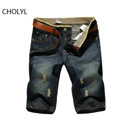 Jeans big hole knee online shopping - 2017 Men Short Jeans Men s Fashion Shorts Men Big Sale Summer Clothes Fashion Brand Male Short Pants and mens denim shorts
