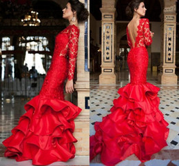 $enCountryForm.capitalKeyWord NZ - Hot Sale Tiered Mermaid Evening Dresses 2019 Long Sleeves Red Lace ruffles skirt Open Back Sexy Prom Formal Gowns