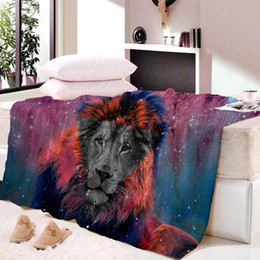 $enCountryForm.capitalKeyWord Australia - Lion Tiger Head Wool Plush Blanket Super Comfortable Fabric Thin Blanket Spring and Autumn Shawl Beach Towel Bed Fluffy