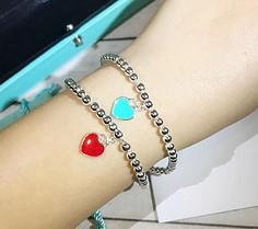 $enCountryForm.capitalKeyWord NZ - fashion 925 Sterling Silver Jewelry For Women Blue Heart Beads Bracelet Silver Beaded Bracelet Pink Heart Pendant Bracelet