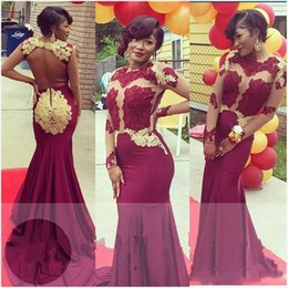Open Back Gold Prom Dresses Australia - Burgundy and Gold Prom Dresses Long 2019 Mermaid Jewel Neck Long Sleeve Evening Gowns Beaded Lace Open Back Cocktail Party Dress Formal Gown