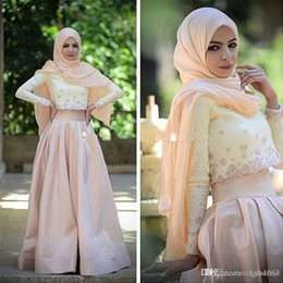 Wholesale New Piece Muslim Evening Dress Long Sleeve Lace Top Champagne Satin Skirt Hijab Arabic Prom Gowns A Line Floor Length Formal Party Dress