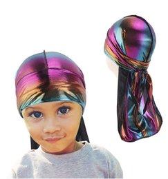 Wig Grey Australia - Child Extra Long Tail Du-Rag Laser Breathable Bandanas Turban hat Wigs Doo Durags Headwear Headband Hair Accessories