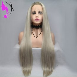 $enCountryForm.capitalKeyWord Australia - Ombre Blonde Wig Long Loose straight Synthetic Lace Front Wig For Women Heat Resistant Fiber Natural Lace Wig Daily Wigs