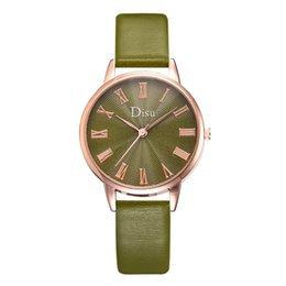 $enCountryForm.capitalKeyWord Australia - Hot sale simple design Rome dial Ladies Quartz Wrist Watch green Simple Retro Leather Watches Female Clock Hours