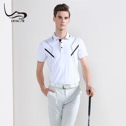 Discount mens golf fashion - 2019 EAGEGOF Summer Golf Shirt Mens Short sleeve Fashion golf wear Quick Dry Male Sweatshirt VS DESCENTE shirts