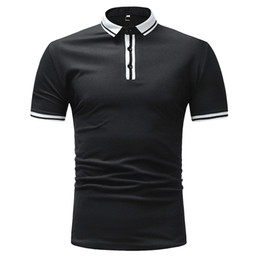 White Polo Cardigan Australia - Polo Shirt Men 2019 Men's Clothing Buttons Design Half Cardigans Patchwork Casual Slim Fit Men Polo Shirt