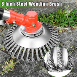 wheel trimmer UK - 8 Inch Steel Wire Wheel Garden Lawn Mower Grass Eater Trimmer Head Brush Cutter Tools