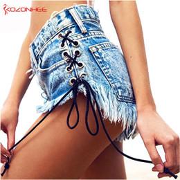 Denim Shorts Straps Australia - Vintage Snowflake Inelastic Women Denim Shorts With High Waist Straps Tassel Female Summer Shorts For Women's Jeans Q190510