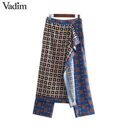 $enCountryForm.capitalKeyWord UK - Vadim Women Patchwork Print Wrap Pants Side Zipper Fly Design Female Casual Trousers Vintage Chic Straight Pantalones Ka696 MX190716