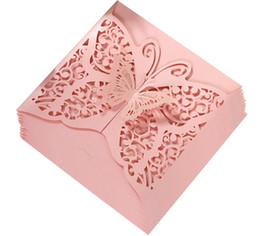 $enCountryForm.capitalKeyWord NZ - New 2019 Wedding Invitation Cards Lace Hollow White Ink Blue Butterfly Invitations Pocket Square Laser Cut Invitations Cards