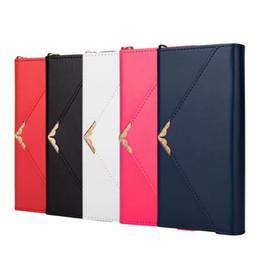 $enCountryForm.capitalKeyWord UK - Envelope Leather Purse Case For Iphone XS MAX XR X 10 8 7 6 Plus Galaxy S10 S10e S9 Note9 3 Folds ID Fashion Designer Women Wallet Lanyard